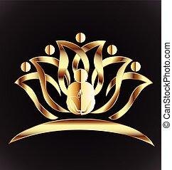 virág, jóga, arany, lótusz, jel, ember