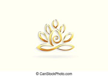 virág, jóga, arany, lótusz, jelkép, jel, ember
