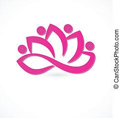 virág, jel, lótusz, rózsaszínű