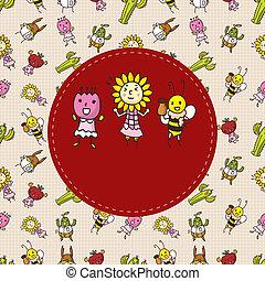 virág, karikatúra, kártya, bogár