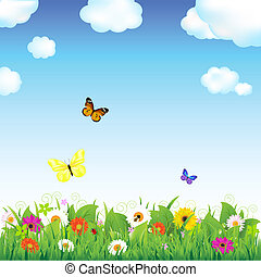 virág, kaszáló, pillangók