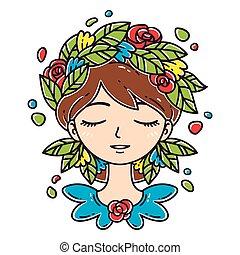virág lány, hair.