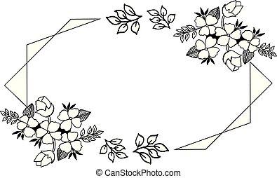 virág, levél növényen, ábra, vektor, sablon, keret