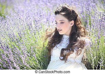 virág, levendula, fiatal, mező, meglehetősen, szabadban, leány