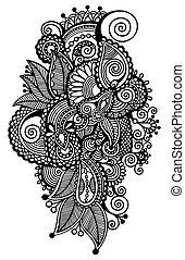 virág, művészet, autotrace, ukrán, digital tervezés, fekete, etnikai, választékos, megtölt rajz, mód