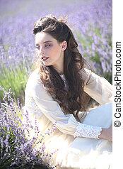 virág, mező, meglehetősen lány, szabadban, levendula, fiatal