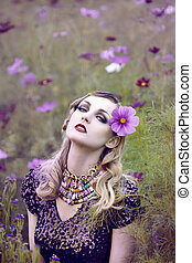 virág, nő, mező, gyönyörű