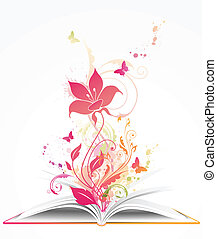 virág, nyitott könyv, rózsaszínű