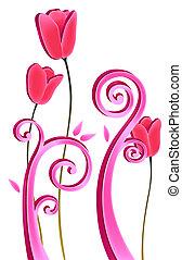 virág, piros, szőlőtőke