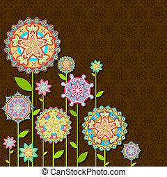 virág, retro, színes