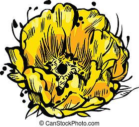 virág, sárga, rügy