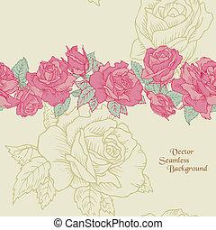 virág, -, seamless, kéz, agancsrózsák, vektor, háttér, húzott