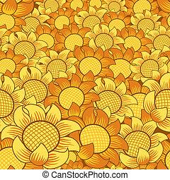 virág, seamless, sárga háttér, narancs, ismétlő