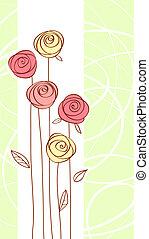 virág, szín, rózsa, köszönés, piros lap