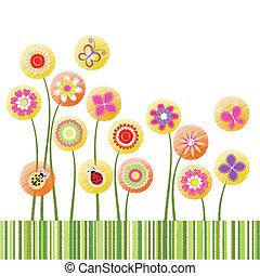 virág, színes, elvont, köszönés, tavasz, kártya