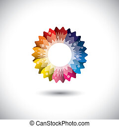 virág, színes, eredet, szirom, fényes, vektor, ikon