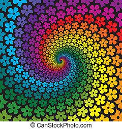 virág, színes, spirál, háttér