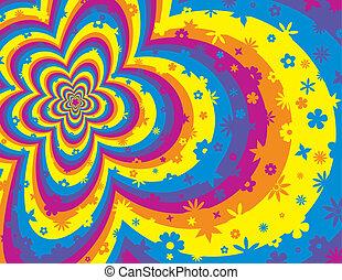 virág, színes, vonal, háttér