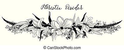 virág, szöveg, elem, vektor, tervezés, finom, divider., virágos