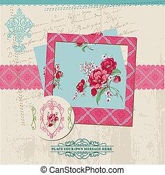 virág, szüret, keret, -, vektor, tervezés, kártya, fénykép, scrapbook, alapismeretek