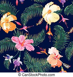 virág, szüret, -, seamless, tropikus, vektor, háttér példa