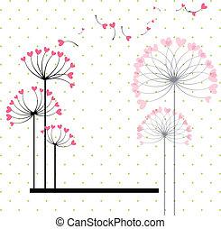 virág, szeret absztrahál, polka, háttér, pont