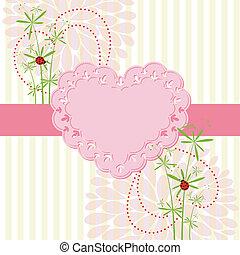 virág, szeret, tavasz, kártya