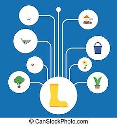 virágcserép, lakás, állhatatos, kertészkedés, elements., ikonok, is, csizma, vödör, beleértve, jelkép, fa, fruiter, vektor, objects., más, berendezés