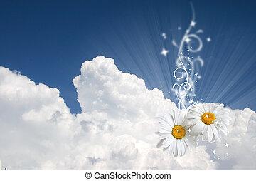 virágos, ég, háttér