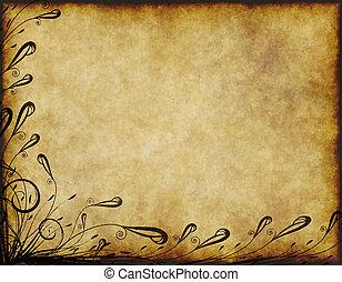 virágos, öreg, pergament