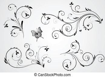 virágos, örvény, tervezés, állhatatos