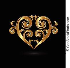 virágos, arany-, szív, szeret, jel