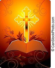 virágos, biblia, kereszt, háttér