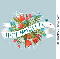 virágos, boldog, nap, köszönés, anya
