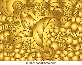 virágos, elvont, díszítés, háttér, arany