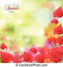 virágos, elvont, fényes, háttér