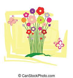virágos, eredet, köszönés kártya, nyár