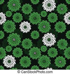 virágos, eredet, zöld, seamless, motívum