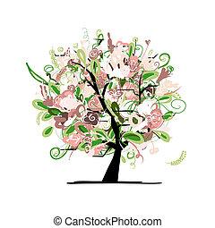 virágos, fa, tervezés, -e