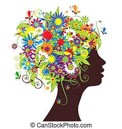 virágos, fej, árnykép