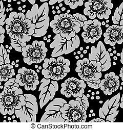 virágos, fekete, seamless, háttér