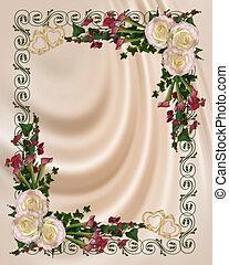 virágos, finom, esküvő invitation
