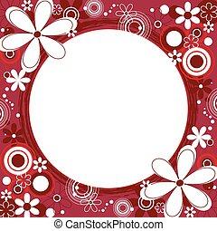 virágos, keret, derékszögben, piros