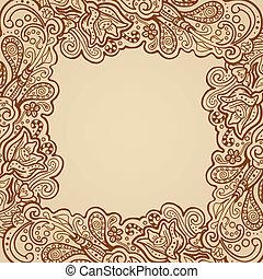 virágos, keret, hennabokor, -, pergament
