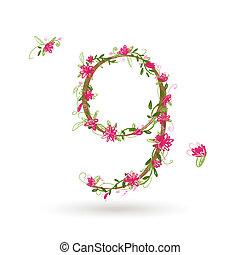 virágos, kilenc, tervezés, szám, -e