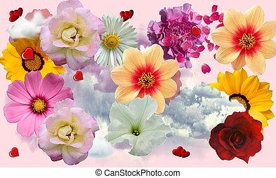 virágos, kollázs