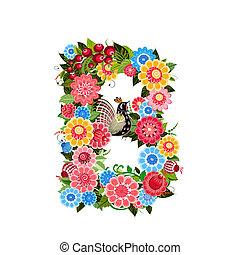 virágos, mód, khokhloma, levél, madarak