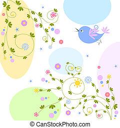 virágos, madár, háttér
