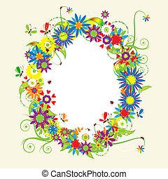 virágos, nyár, ábra, keret