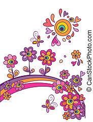 virágos, nyár, elvont, poszter